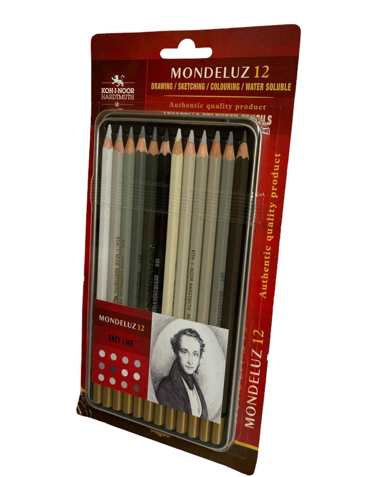 KOH-I-NOOR MONDELUZ grey line - drvene akvarel boje 12kom