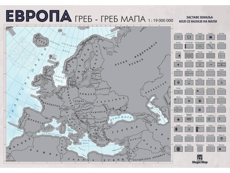 Greb-greb mapa Evropa